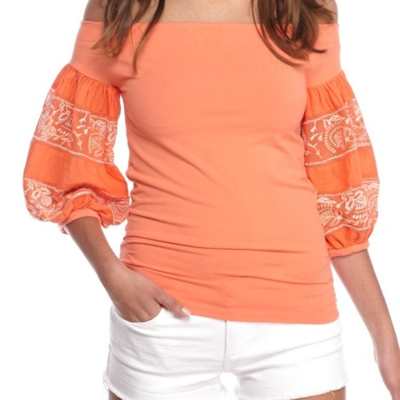 18231d460f853 Free People Rock With It Coral Embroidered Top